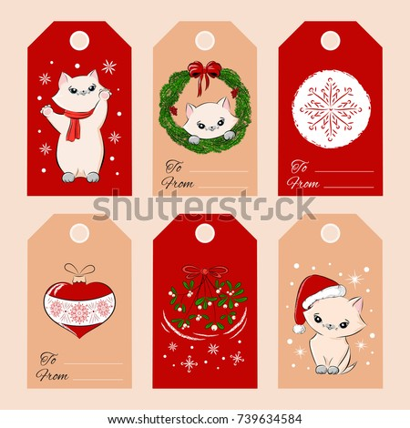 merry christmas gift tags template set stock vector royalty free