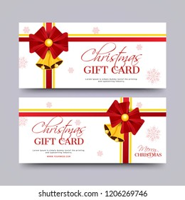 Merry Christmas gift voucher, coupon or horizontal template set with best discount offers.