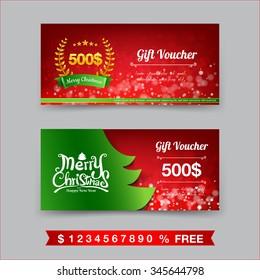 Merry Christmas gift voucher template vector illustration eps10