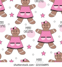 Seamless Merry Christmas Gingerbread House Pattern Stock Vector