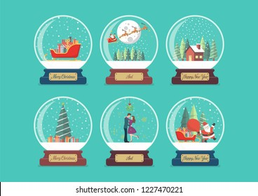 Merry christmas glass ball collection. Vector illustration