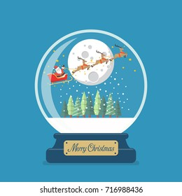 Merry christmas glass ball with Santa sleigh against the moon. Vector illustration