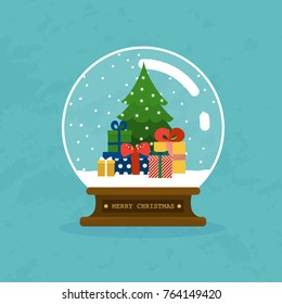 Merry christmas glass ball with christmas tree and gifts. Flat design modern vector illustration concept.