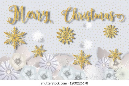 Merry Christmas with glitter gold texture and star,snowfall,snowflakes,winter,light,stars patterned paper cut art style on Luxury background.for greetings card, flyers, invitation.vector illustration