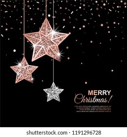 Merry Christmas Glowing Banner with Hanging Rose Gold and Silver Stars on black Background with falling confetti. Vector illustration. All isolated and layered