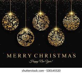 Merry Christmas gold ball decoration for greeting card, invitation, celebratory design. Vector illustration