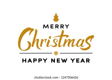 Merry Christmas gold and black hand lettering text. Celebration sign for winter holiday design, postcard, poster, invitation, banner and sticker. Holiday quotation in calligraphy. Vector illustration.