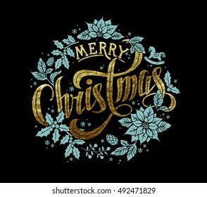 Merry Christmas Gold Calligraphic Lettering Design decorated with Christmas Wreath.