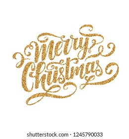 Merry Christmas gold glitter vector lettering on white background. Isolated typography. Xmas design element for card, poster, flyer.