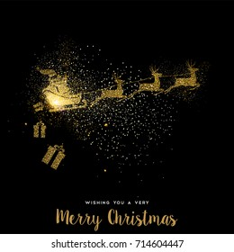 Merry Christmas gold luxury greeting card design. Santa Claus in sledge with deer made of golden glitter dust on black background. EPS10 vector.