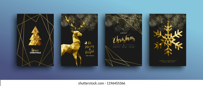 Merry christmas gold template set with holiday reindeer and xmas elements in low poly style. Ideal for greeting card, poster or web design. EPS10 vector.