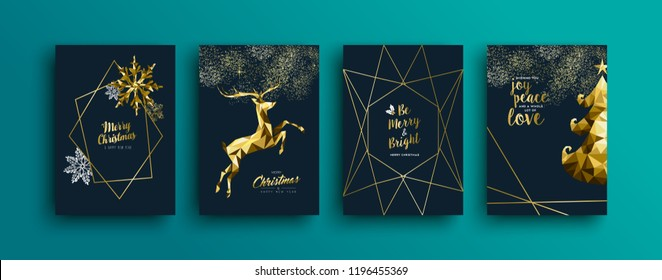Merry christmas gold template set with holiday reindeer and xmas elements in low poly style. Ideal for golden greeting card, poster or web. EPS10 vector.