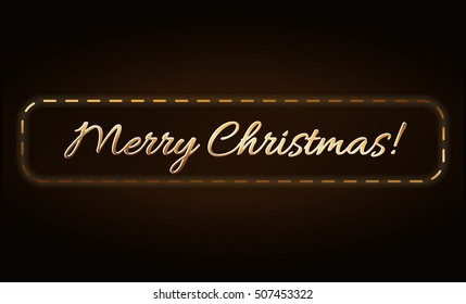 Merry Christmas gold text in frame. Holiday background. Golden type decorative design for card, banner, greeting, vintage decoration. Symbol Happy New Year celebration, holiday. Vector illustration