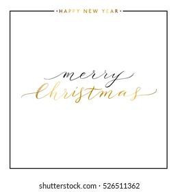 Fröhlicher Weihnachtsgoldtext einzeln auf weißem Hintergrund, handgemalter Brief, goldener Vektor-Xmas-Buchstaben für Grußkarten, Poster, Banner, Druck, Einladung, handgeschriebene Kalligrafie