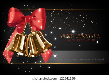 Merry Christmas with golden bells poster design. Inscription with golden bells, red bowknot on black background. Can be used for posters, greetings, postcards