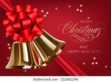 Merry Christmas with golden bells and ribbon postcard design. Inscription with golden bells, red bowknot and confetti on red background. Can be used for greetings, postcards, banners