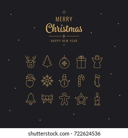 merry christmas golden lettering thin line icons black background