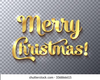 Merry Christmas golden sign on transparent background, design element for banners, flyers and so. Vector illustration, eps10.