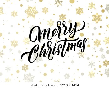Merry Christmas golden and silver snowflakes pattern. Vector Xmas greeting card calligraphy lettering and gold confetti background