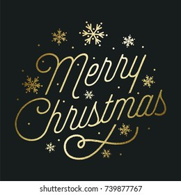 Merry Christmas - Golden Text On Black Background