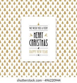 merry christmas golden withe card tree background