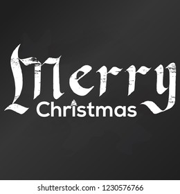 Merry Christmas gothic Calligraphy lettering. Vector Chalk board