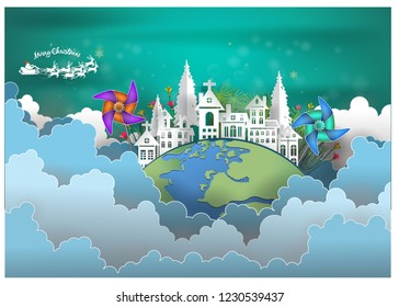 Merry Christmas .graphic red Pretty red  blue  green And gray  background .paper cut art style Vector EPS 10