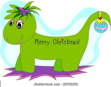 Merry Christmas Green Dragon Vector