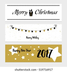 Merry Christmas greeting banner with stars