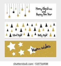 Merry Christmas greeting banner with christmas tree and stars