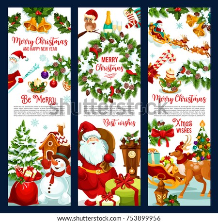 Merry Christmas Greeting Banners Xmas Wishes Stock Vector (Royalty ...