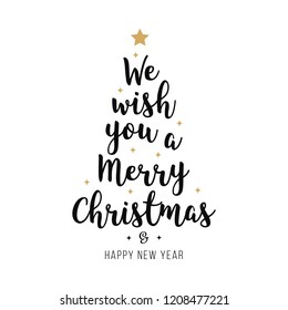 Merry christmas greeting calligraphy gold isolated background