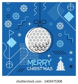 Merry Christmas. Greeting card with Christmas ball as a golf ball. Abstract flat design. Vector illustration.