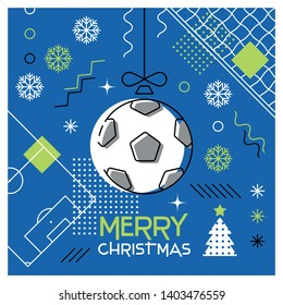Merry Christmas. Greeting card with Christmas ball as a soccer ball. Abstract flat design. Vector illustration.