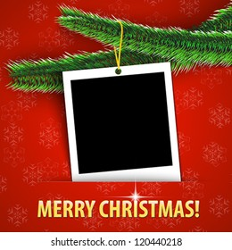 Merry Christmas greeting card with blank photo frame hanging on shiny Christmas tree. Vector illustration