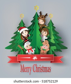 merry christmas greeting card with children wearing fancy dress cute  ,paper art and  digital craft style.