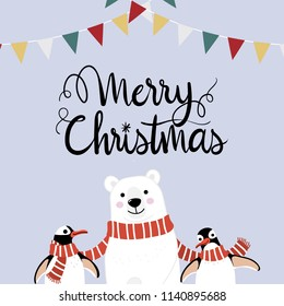 Merry Christmas greeting card with cute polar bear and penguins with long red scarf. Arctic animal in winter costume cartoon character vector.  Calligraphy hand written.