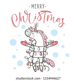 Merry Christmas greeting card with cute Unicorn, vector illustration