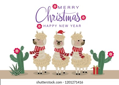 Merry Christmas greeting card with cute alpaca wear red scarf. Animal wildlife cartoon character.