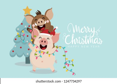 Merry Christmas greeting card with cute piggy and boar. 2019 the year of the pig. Animal holidays cartoon character. Calligraphy hand written.