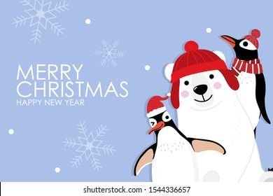 Merry Christmas greeting card with cute polar bear and penguins with red scarf. Arctic animal in winter costume cartoon character vector. Snow and snowflake fall down background.