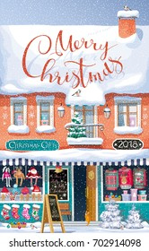 """Merry Christmas"" greeting card - cute vector winter house with a Christmas market on the first floor under a snowfall - for postcards, posters, banners, sales and other Christmas and New Year events."