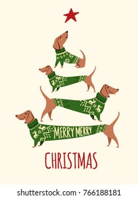 Merry Christmas greeting card with cute funny dogs wearing green winter sweaters. Abstract Christmas tree. Vector illustration.
