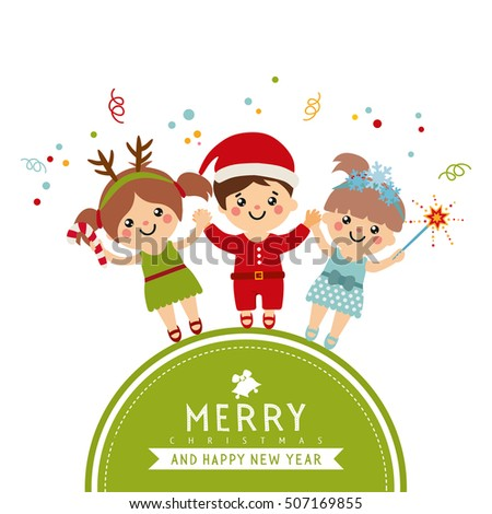 Merry christmas greeting card cute kids stock vector royalty free merry christmas greeting card with a cute kids cartoon collection with sweet children on green m4hsunfo