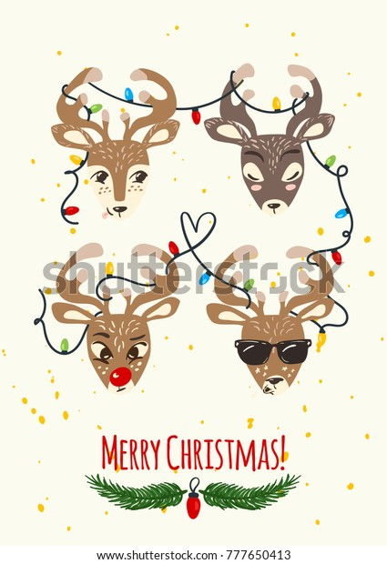 Merry Christmas Greeting Card Cute Funny Stock Vector