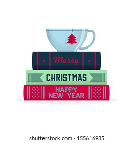 Merry Christmas greeting card design. Cup of tea on stack of books. Vector illustration