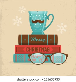 Merry Christmas greeting card design in hipster style. Cup of tea with mustache on stack of books. Vector illustration