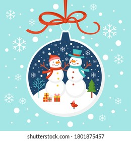 Merry Christmas greeting card design with snowman characters and bauble ornament. Flat style cartoon illustration