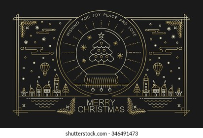 Merry Christmas greeting card design in gold outline style with city holiday elements and text. Ideal for Xmas poster, campaign or web. EPS10 vector.