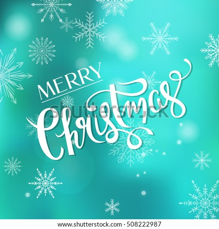 Merry christmas greeting card design hand stock vector royalty free merry christmas greeting card design with hand drawn lettering sign over beautiful winter background vector illustration m4hsunfo